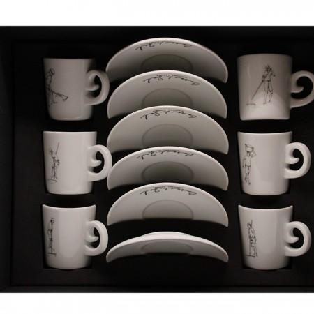Conjunto de 6 Chávenas de Café e Pires