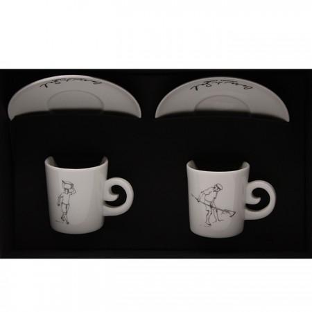 Conjunto de 2 Chávenas de Café e Pires